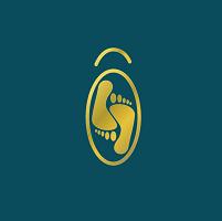 Deux pieds dorés dans un ciel bleu pértol en logo d'olespieds