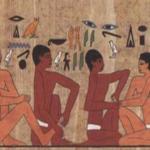 Hiéroglyphe illustrant la pratique régulière et donnant une idée des origines de la réflexologie