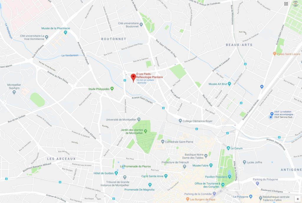 trouver Olp sur le carte de situation de O Les Pieds en centre ville de montpellier