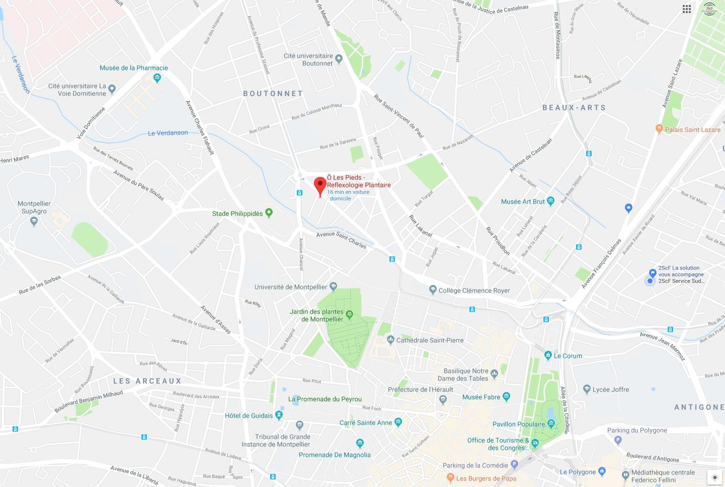 carte de situation de O Les Pieds en centre ville